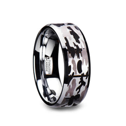 Beveled Tungsten Carbide ring with black and gray camo pattern