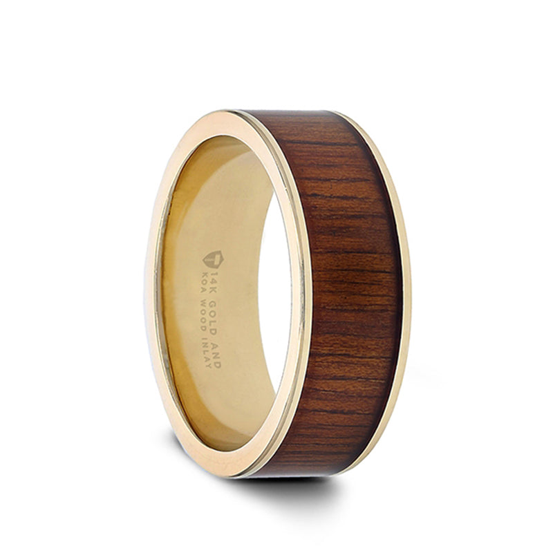 14K Gold pipe cut wedding ring with rare koa wood inlay