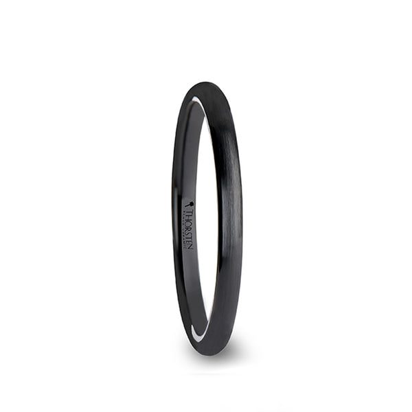 Black Ceramic domed wedding ring with brushed finish