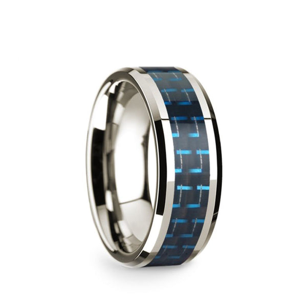 14K White Gold men's wedding band with blue carbon fiber inlay and beveled edges.