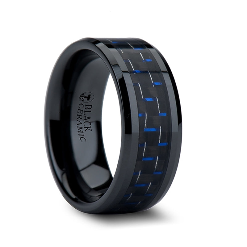 Black Ceramic men's wedding band with blue and black carbon fiber inlay and beveled edges
