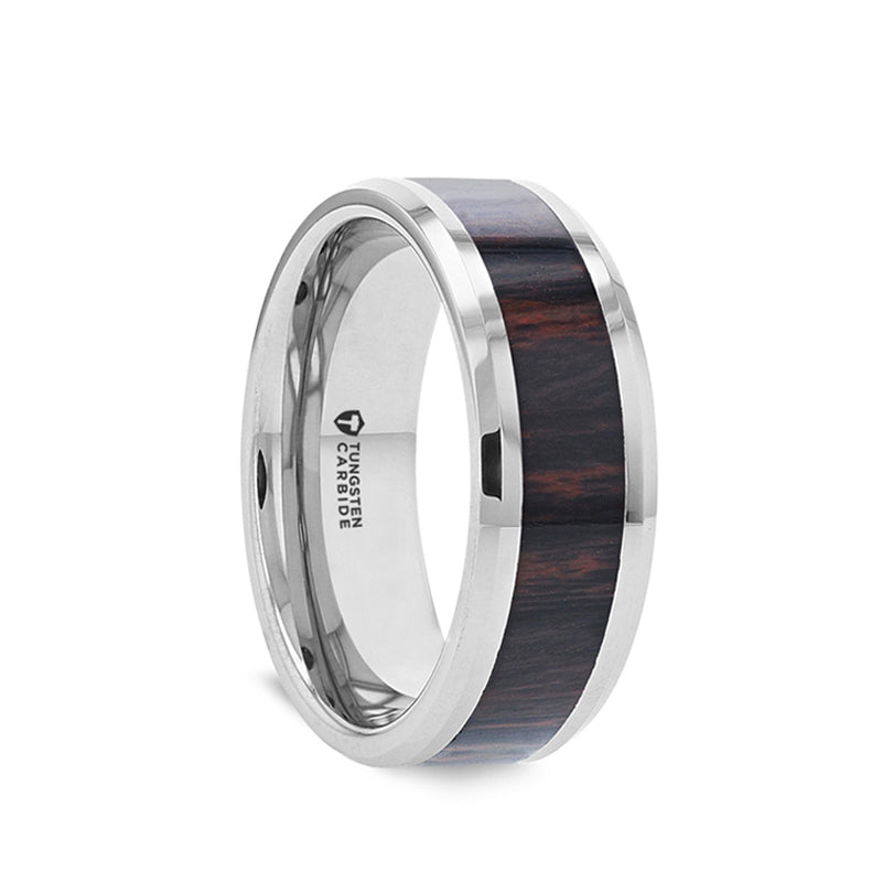 Flat Tungsten Carbide ring with mahogany obsidian wood inlay and polished edges