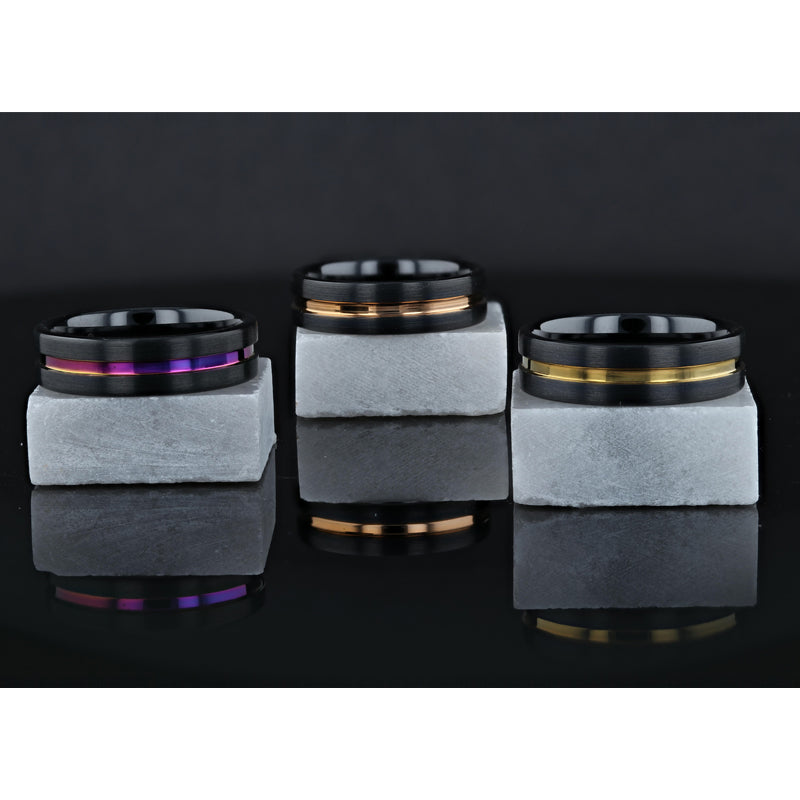 Black Ceramic flat men's wedding ring with polished rainbow stripe