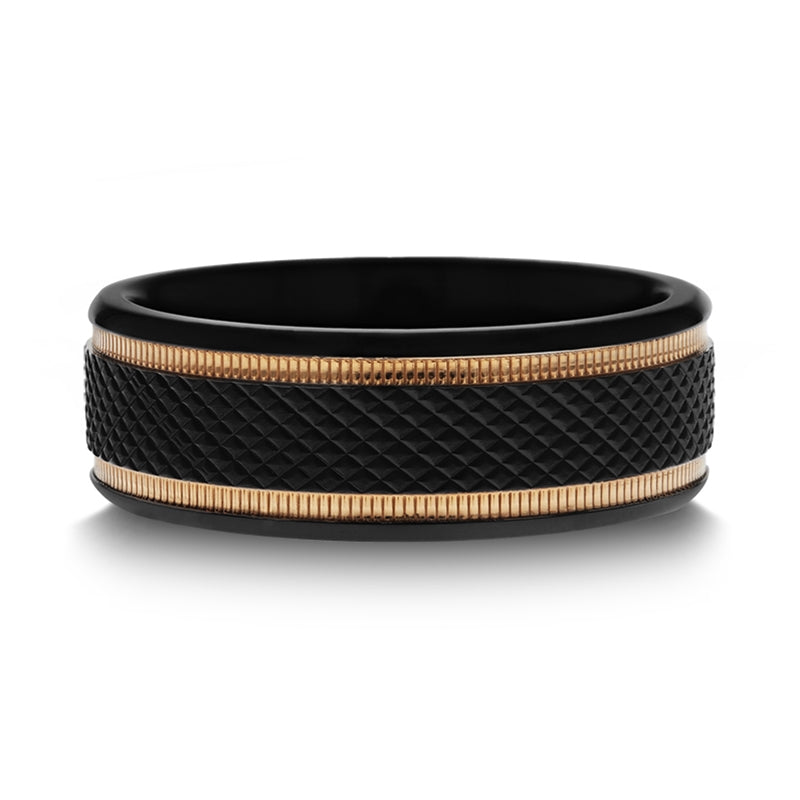 Gold Plated Black Titanium wedding band with diamond pattern brushed finish and gold milgrain grooves