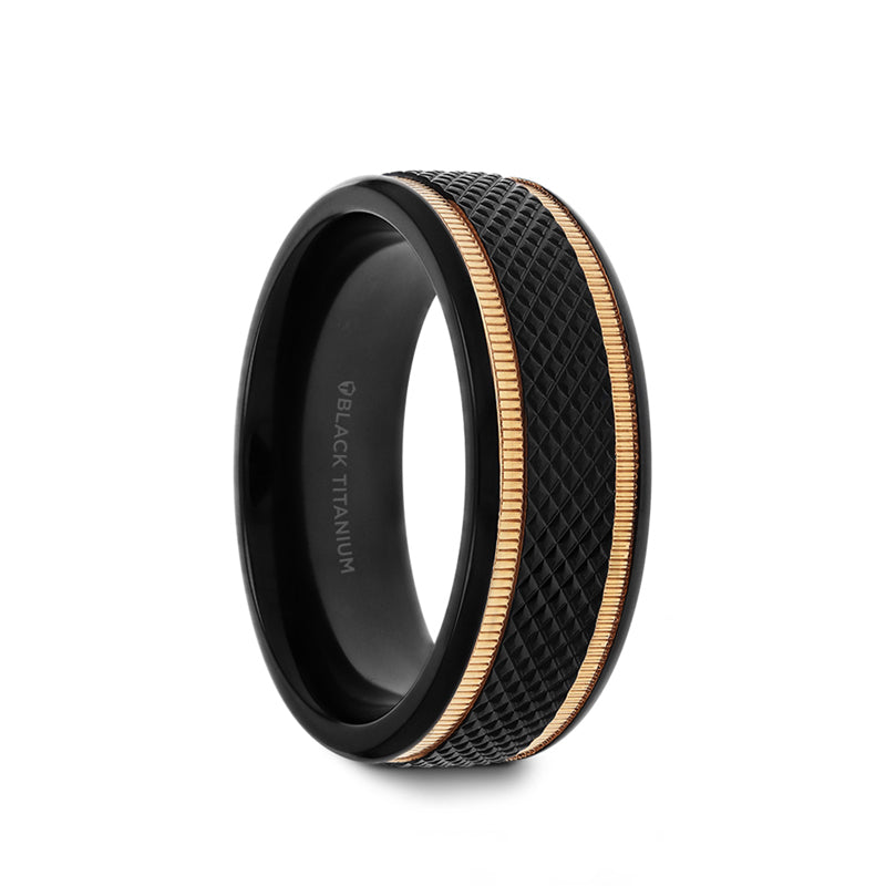 Gold Plated Black Titanium wedding band with diamond pattern brushed finish and gold milgrain grooves.