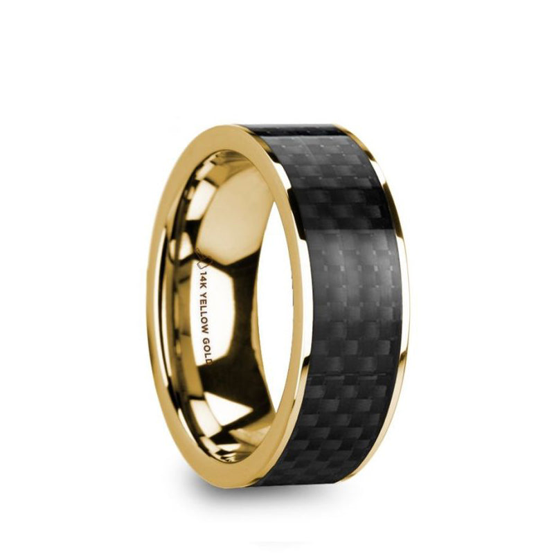 14K Gold men's wedding band with black carbon fiber inlay and flat edges.
