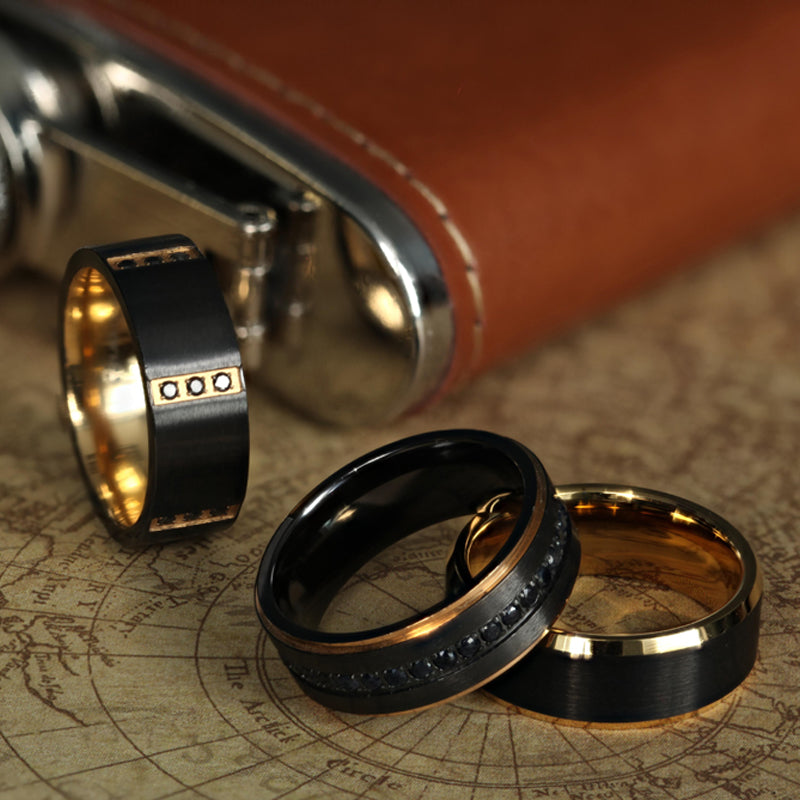 Gold Plated Black Titanium wedding band with polished beveled edges and brushed center