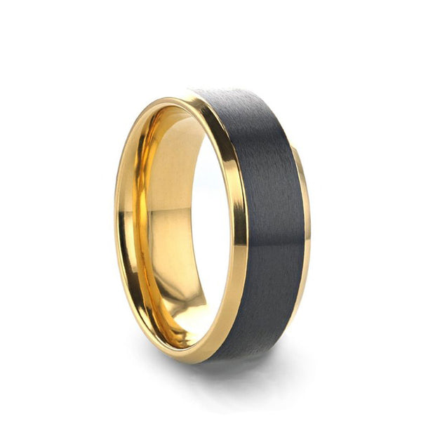 Gold Plated Black Titanium men's wedding band with polished beveled edges and brushed center