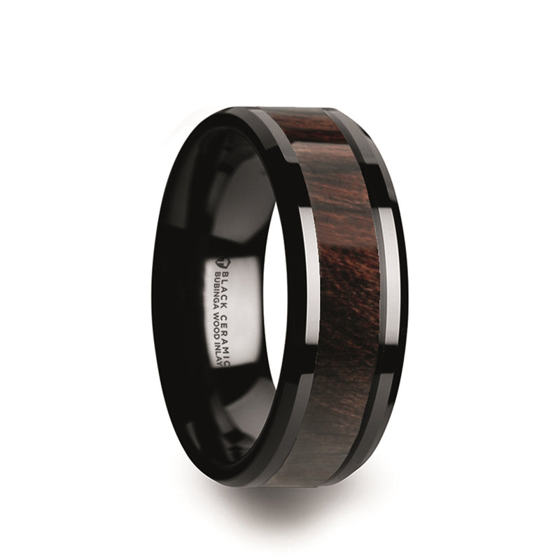 Black Ceramic domed men's wedding ring with bubinga wood inlay and polished finish
