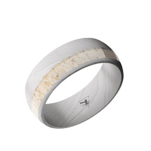 Damascus Steel domed men's wedding band with an off-center antler inlay.