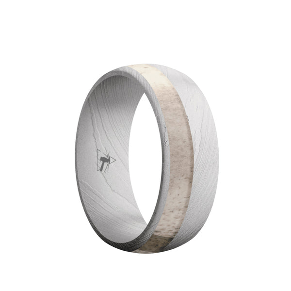 Damascus Steel domed men's wedding band with an off-center antler inlay