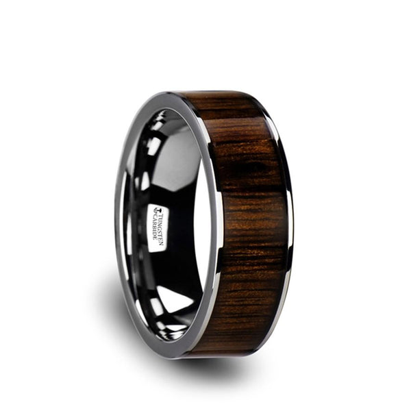 Tungsten Carbide flat wedding ring with black walnut wood inlay and polished edges.