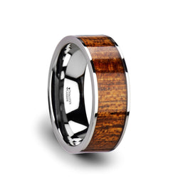 Flat Tungsten Carbide ring with exotic mahogany hard wood inlay and polished edges