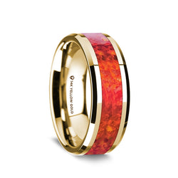 14K Gold men's wedding band with red opal inlay and beveled edges
