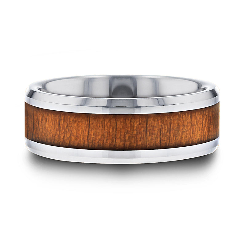 Tungsten Carbide ring with black cherry wood inlay and polished, beveled edges.
