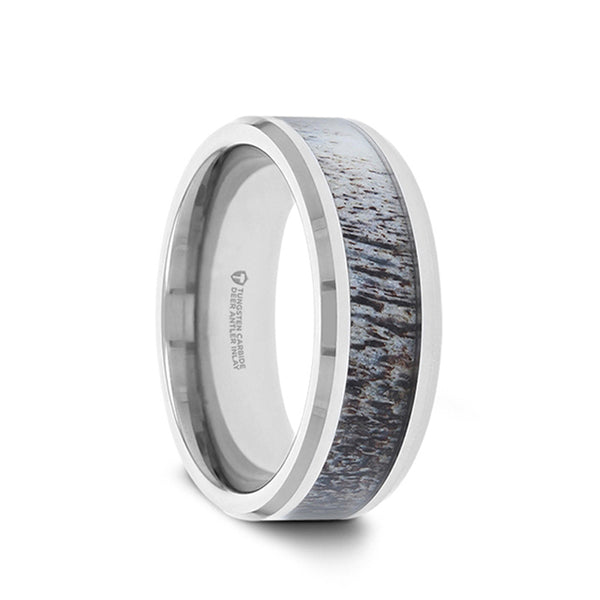 Tungsten wedding band with beveled edges and ombre deer antler inlay