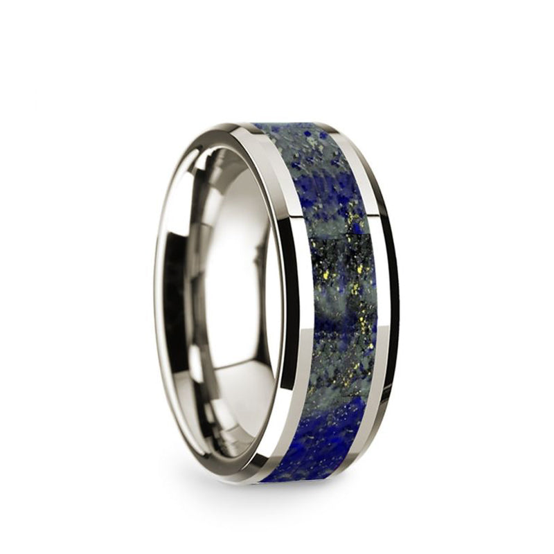14K White Gold wedding band with lapis lazuli inlay and beveled edges