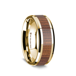 14K Gold wedding band with exotic koa wood inlay and beveled edges