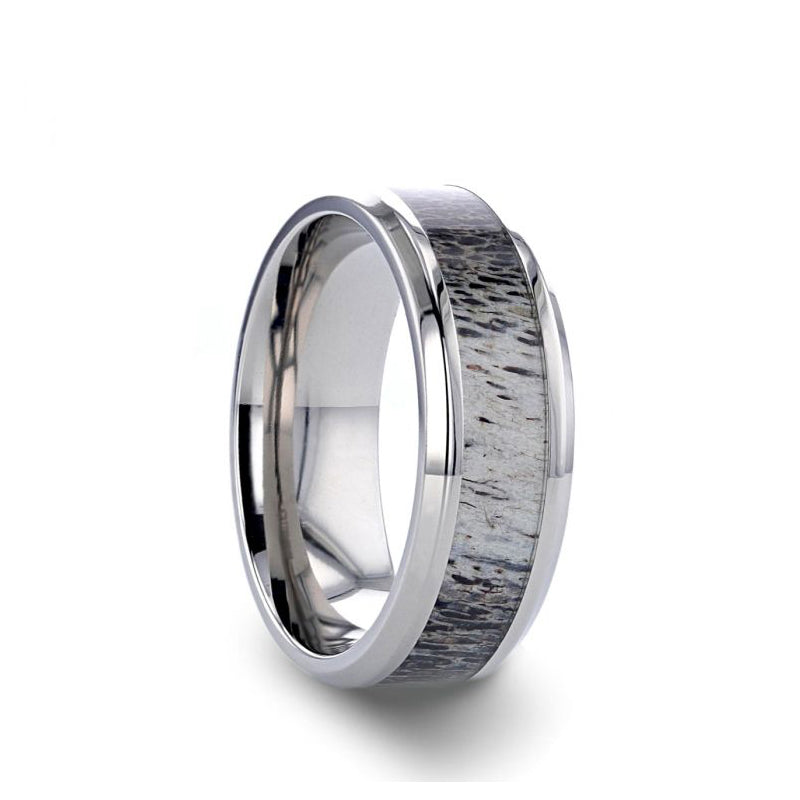 Titanium men's wedding ring with ombre deer antler inlay and beveled edges.