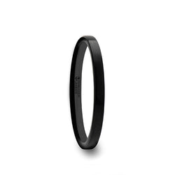 Tungsten Carbide flat wedding ring with brushed finish for women