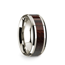 14K White Gold men's wedding band with bubinga wood inlay and beveled edges.