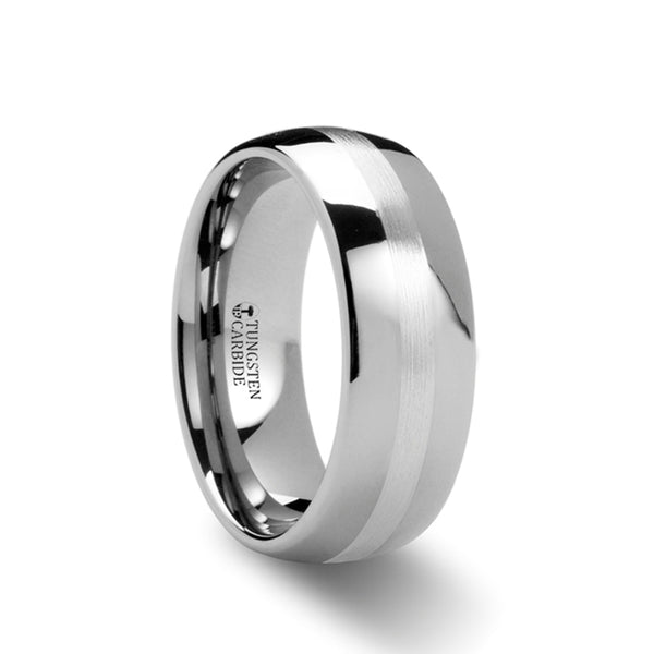 Tungsten domed wedding ring with silver inlay