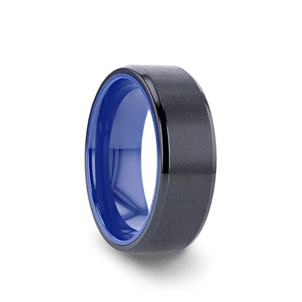 Black Titanium wedding ring with brushed center, royal blue interior and beveled edges.