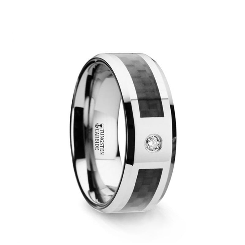 Tungsten wedding ring with black carbon fiber inlay, diamond setting and beveled edges.