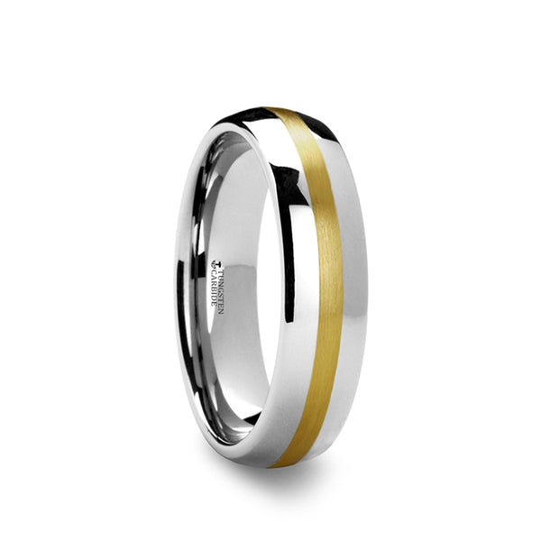 Tungsten Carbide rounded men's wedding ring with gold inlay.