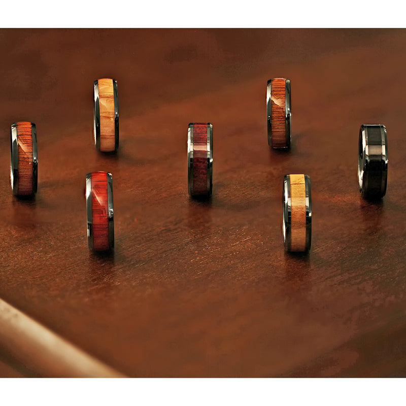 Black Ceramic men's wedding ring with black walnut wood inlay and beveled edges