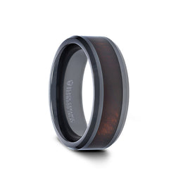 Black Ceramic men's wedding ring with redwood inlay and beveled edges.