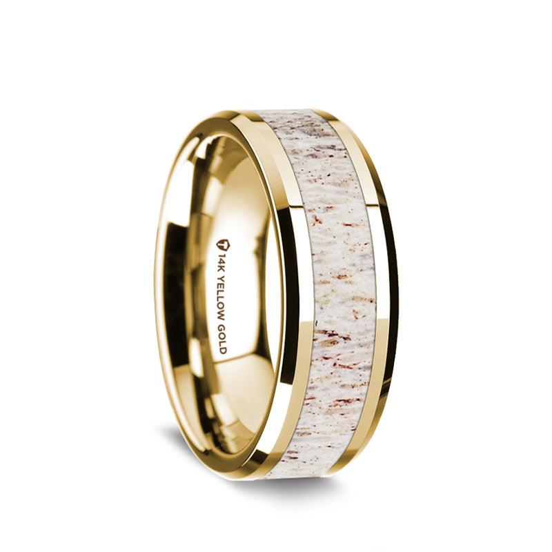 14K Gold wedding ring with antler inlay and beveled edges.