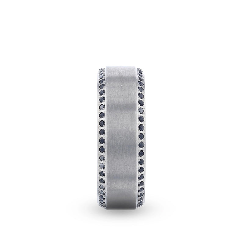 Titanium men's wedding ring with brushed center featuring a bevel eternity arrangement of black sapphires