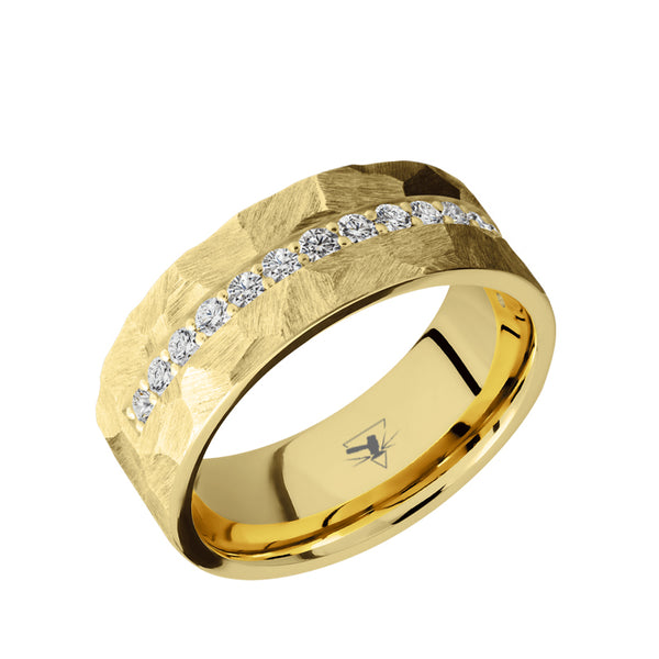 10K Solid Gold domed men's wedding band with a half eternity arrangement of .03 carat lab grown diamonds featuring a brushed rock or polished rock finish