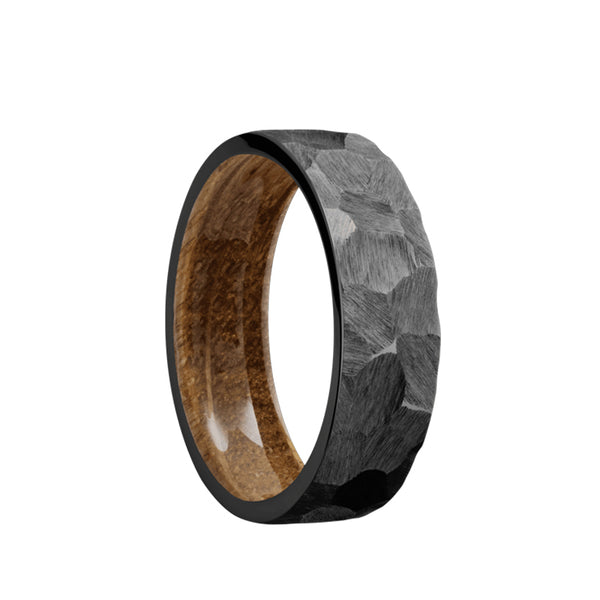 Black Zirconium flat men's wedding band with a rock finish featuring a whiskey barrel sleeve.