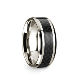 14K White Gold men's wedding band with black carbon fiber inlay and beveled edges