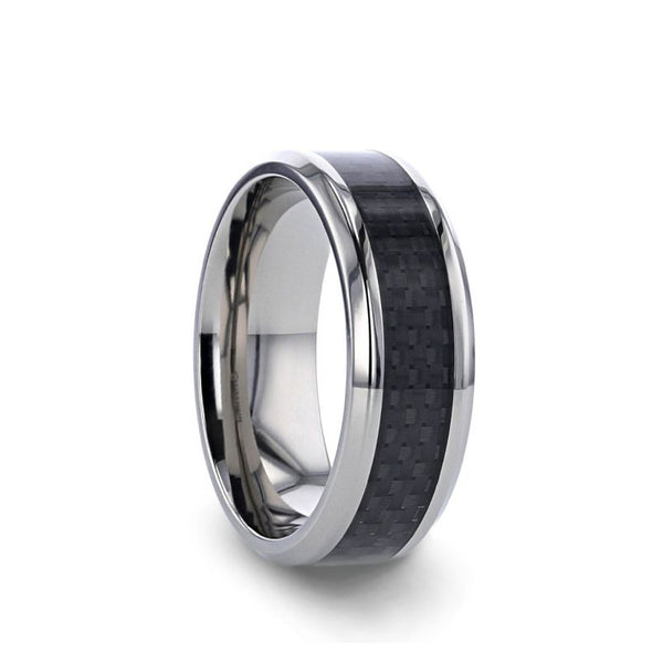 Titanium wedding ring with black carbon fiber inlay and beveled edges