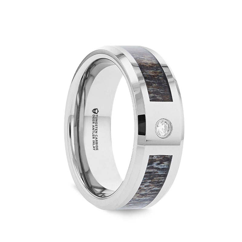 Tungsten Carbide men's wedding ring with ombre deer antler inlay, solitaire diamond and beveled edges