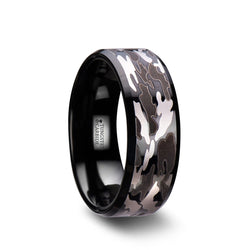 Tungsten Carbide wedding ring with beveled edges and black and grey camo.