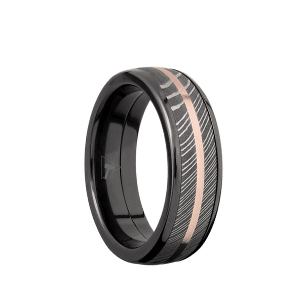 Black Zirconium domed men's wedding band with a Damascus Steel inlay and a 14K Rose Gold accent.