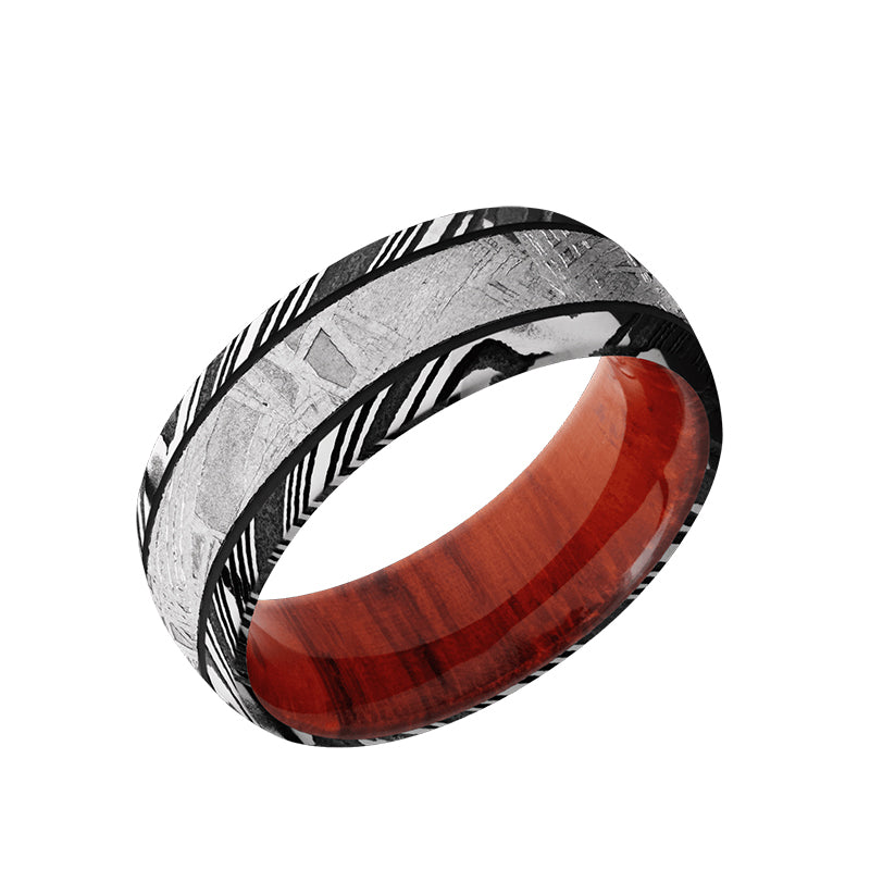 Woodgrain Damascus domed men's wedding band with 4mm of meteorite inlay featuring a Padauk sleeve.
