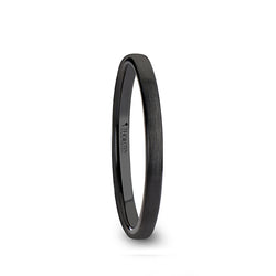 Black Ceramic flat wedding ring with brushed finish