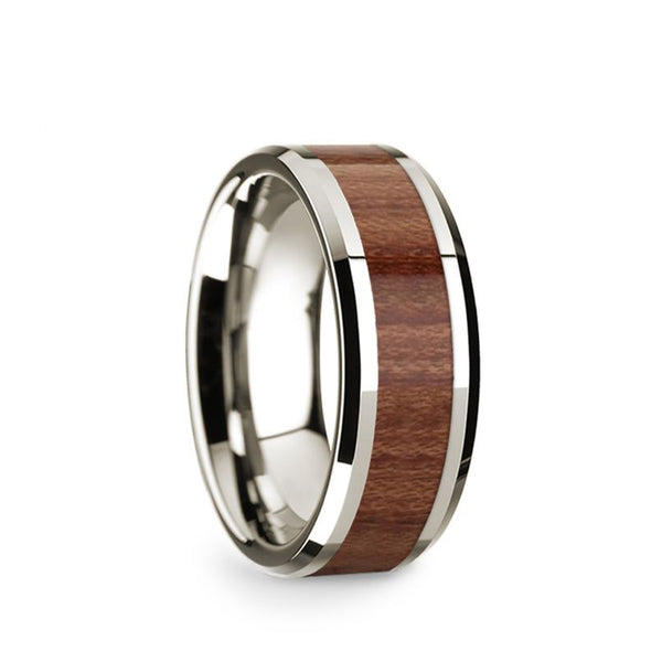 14K White Gold wedding band with rosewood inlay and beveled edges.