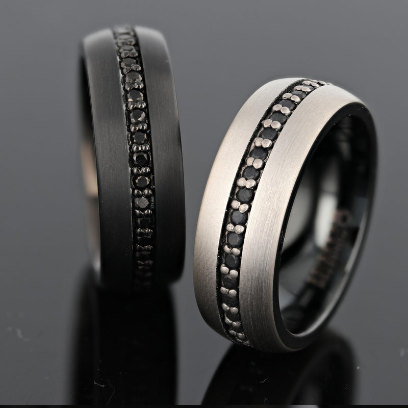 Black Tungsten Ring set with Black Sapphires