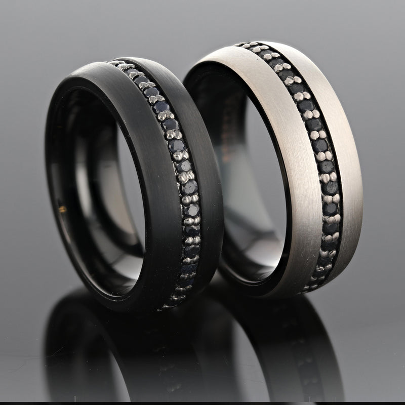 Black Titanium wedding ring with brushed finish and black sapphires