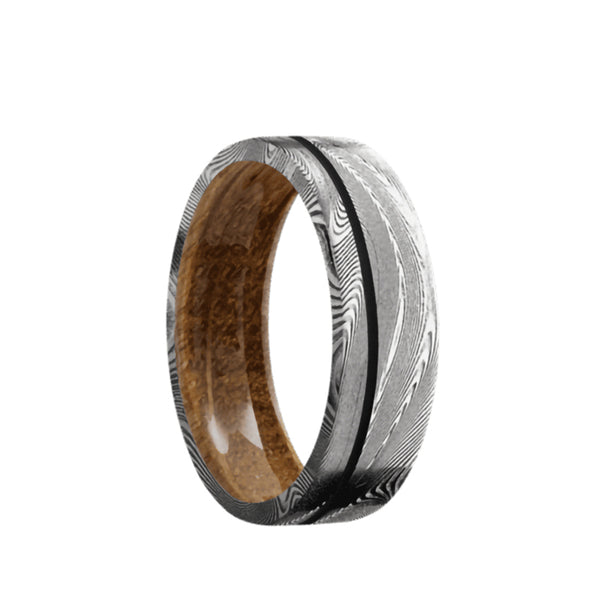 Tightweave Damascus flat men's wedding band with a 0.5mm off-center black cerakote inlay featuring a whiskey barrel wood sleeve