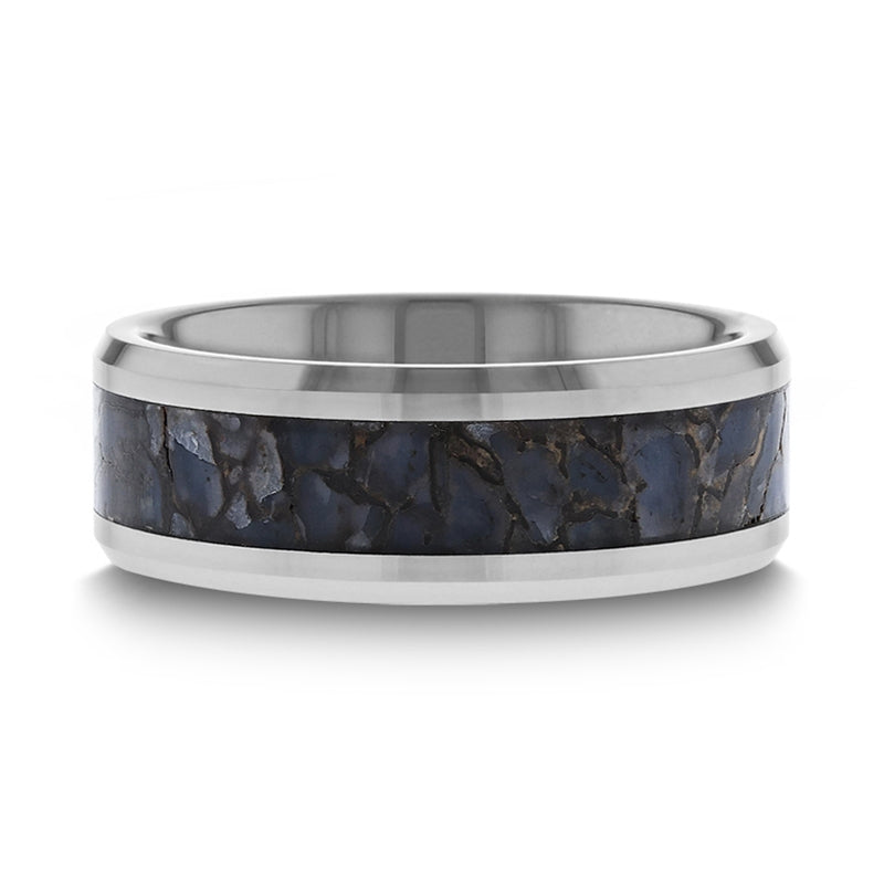 Tungsten Wedding band with beveled edges and blue dinosaur bone inlay