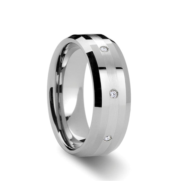 Beveled Tungsten Carbide ring with palladium inlay set with diamonds