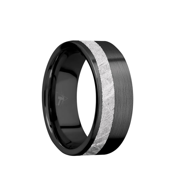 Black Zirconium flat men's wedding band with 3mm of meteorite inlaid off center and a brushed finish.