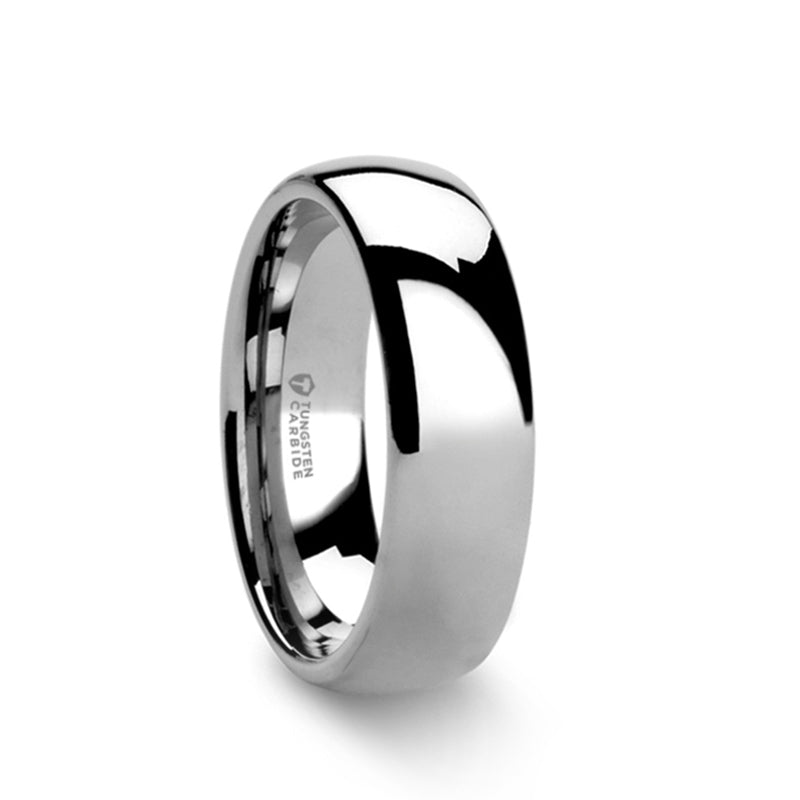 Tungsten carbide domed wedding ring